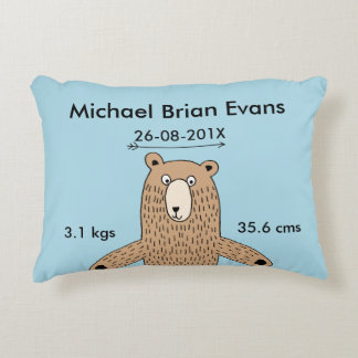 Brown Bear Drawing Birth Announcement Pillow