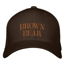 BROWN BEAR EMBROIDERED BASEBALL CAP