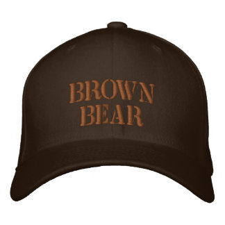 BROWN BEAR EMBROIDERED BASEBALL CAP
