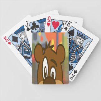 Brown Bear Face Bicycle Playing Cards