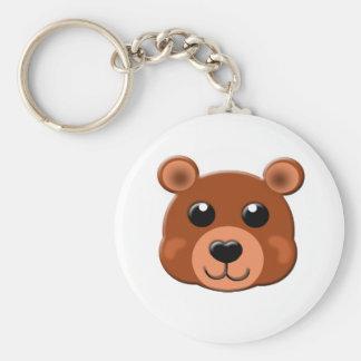 brown bear face keychain