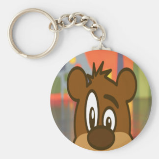 Brown Bear Face Basic Round Button Keychain