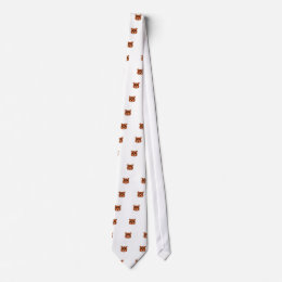 brown bear face neck tie