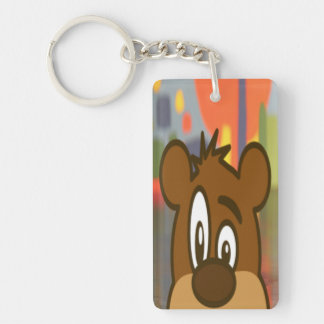 Brown Bear Face Single-Sided Rectangular Acrylic Keychain