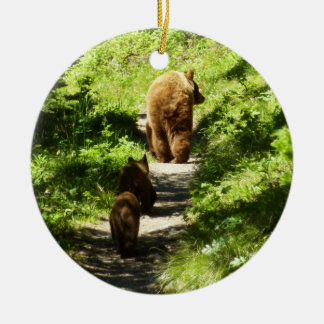 Brown Bear Family Ceramic Ornament