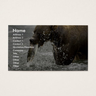 Brown bear feeding on salmon business card