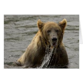 Brown bear fishing note card