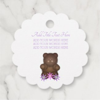 Brown Bear Gingham Personalized Favor Tags