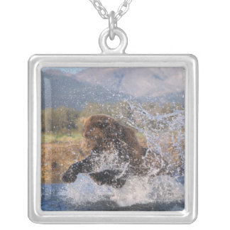 Brown bear, grizzly bear, catching pink salmon, silver plated necklace