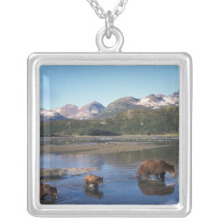 Brown bear, grizzly bear, sow and cubs in square pendant necklace