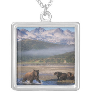 Brown bear, grizzly bear, sow fishing with cubs, square pendant necklace