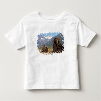 Brown bear, grizzly bear, sow with cub on shirts