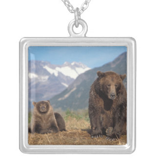 Brown bear, grizzly bear, sow with cub on square pendant necklace