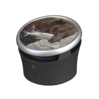Brown bear, grizzly bear, with salmon catch, bluetooth speaker