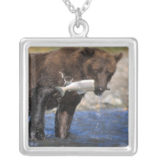 Brown bear, grizzly bear, with salmon catch, silver plated necklace