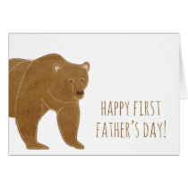 Brown Bear Happy First Father's Day Card