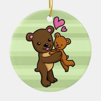 Brown bear hugging baby bear ceramic ornament