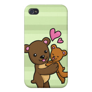 Brown bear hugging baby bear cover for iPhone 4