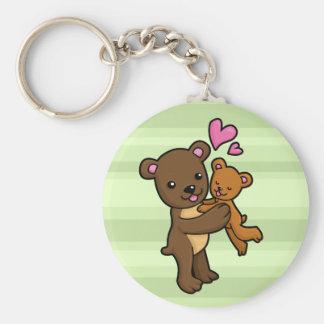 Brown bear hugging baby bear basic round button keychain