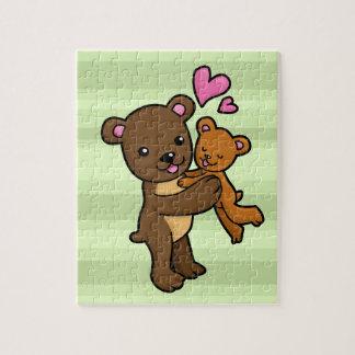 Brown bear hugging baby bear puzzles