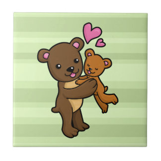 Brown bear hugging baby bear small square tile