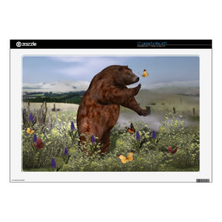 Brown Bear in a Field Skins For Laptops