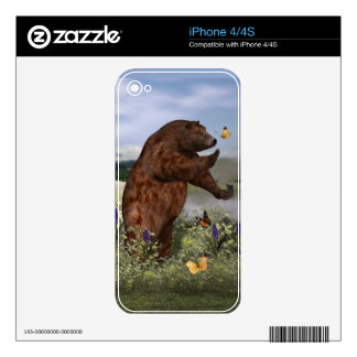 Brown Bear in a Field Skins For The iPhone 4