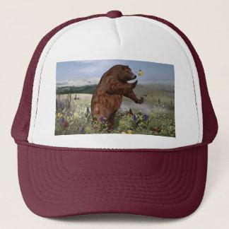 Brown Bear in a Field Trucker Hat