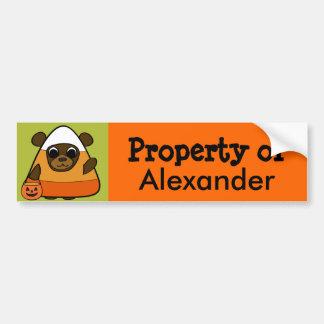 Brown Bear in Candy Corn Costume Car Bumper Sticker