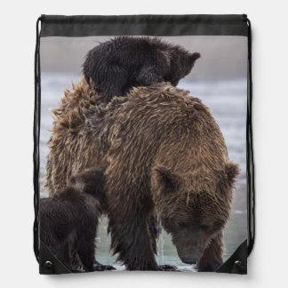 Brown Bear in Lake Clark National park Drawstring Bags
