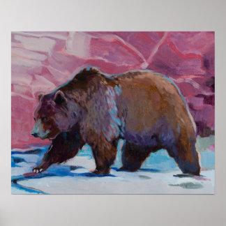 Brown Bear In Utah, Walking by the Rocks Poster