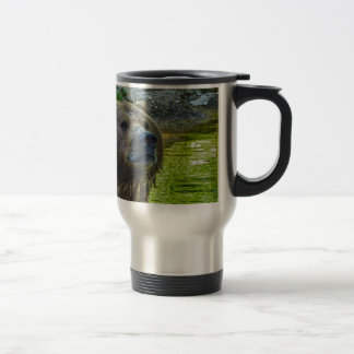 Brown bear in water 001 2.2 travel mug