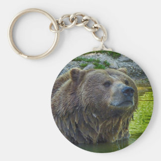 Brown bear in water 002 02.1rd keychain