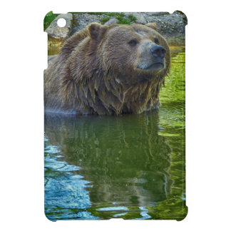 Brown bear in water cover for the iPad mini