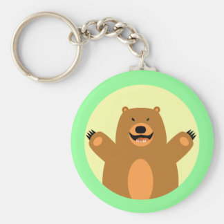 Brown Bear Basic Round Button Keychain