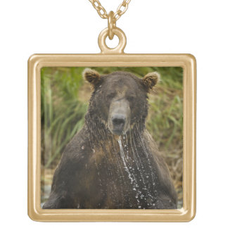 Brown bear, male, fishing for salmon square pendant necklace