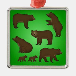 Brown bear metal ornament