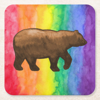 Brown Bear on Rainbow Wash Paper Coaster Square Paper Coaster
