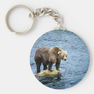 Brown bear on rock in river basic round button keychain