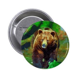 Brown bear pinback buttons