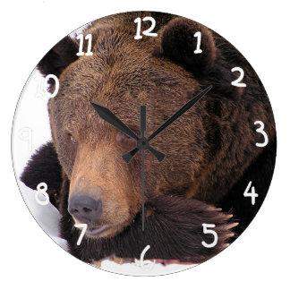 Brown Bear Resting on Snow Large Clock