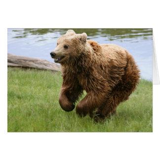 Brown Bear Running Greeting Card