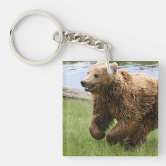 Brown Bear Running Single-Sided Square Acrylic Keychain
