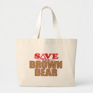 Brown Bear Save Large Tote Bag