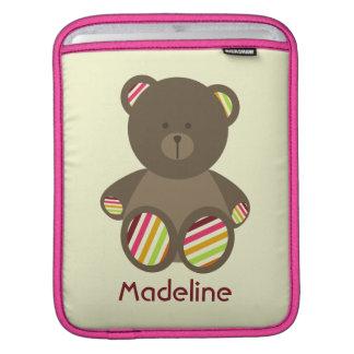 Brown Bear & Stripes Rickshaw Sleeve iPad Sleeve