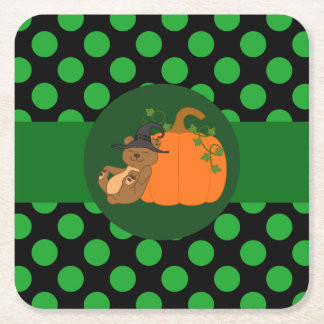 Brown Bear Witch with Pumpkin & Green Dots Square Paper Coaster