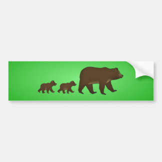 Brown bear with baby bears bumper sticker