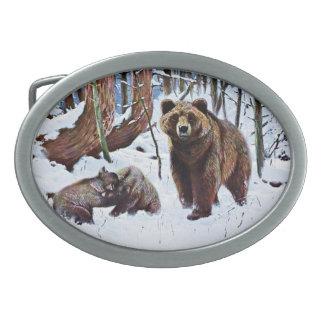 Brown Bear with Cubs Art Belt Buckle