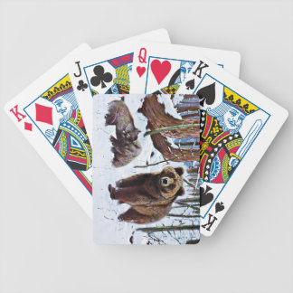 Brown Bear with Cubs Art Bicycle Playing Cards