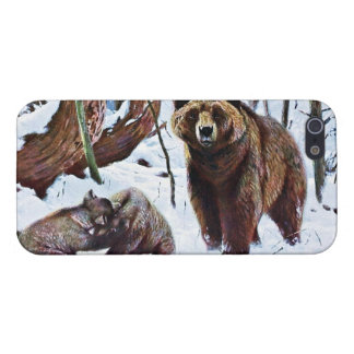 Brown Bear with Cubs Art Case For iPhone SE/5/5s
